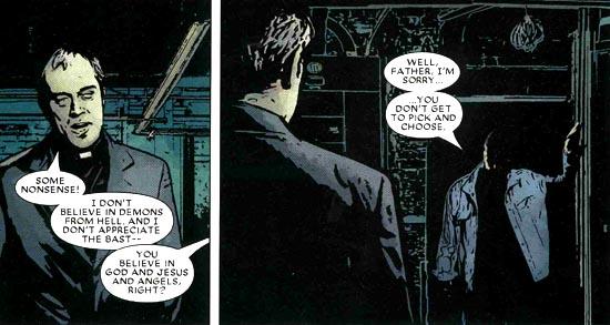 El abogado ciego -y superhéroe de incógnito- Matt Murdock, Daredevil, siempre con un confesor a mano