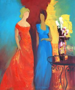 mujeres-red_and_blue_dress_modern_lady_oil